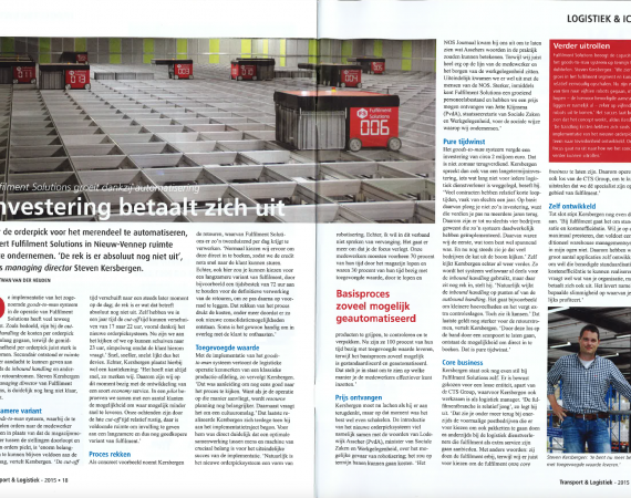 Fulfilment Solutions Featured in de Transport en Logistiek van September 2015